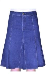 Kosher Casual Women's Modest Knee Length Flared Denim Skirt