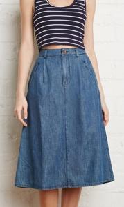 Forever 21 Denim Midi Skirt